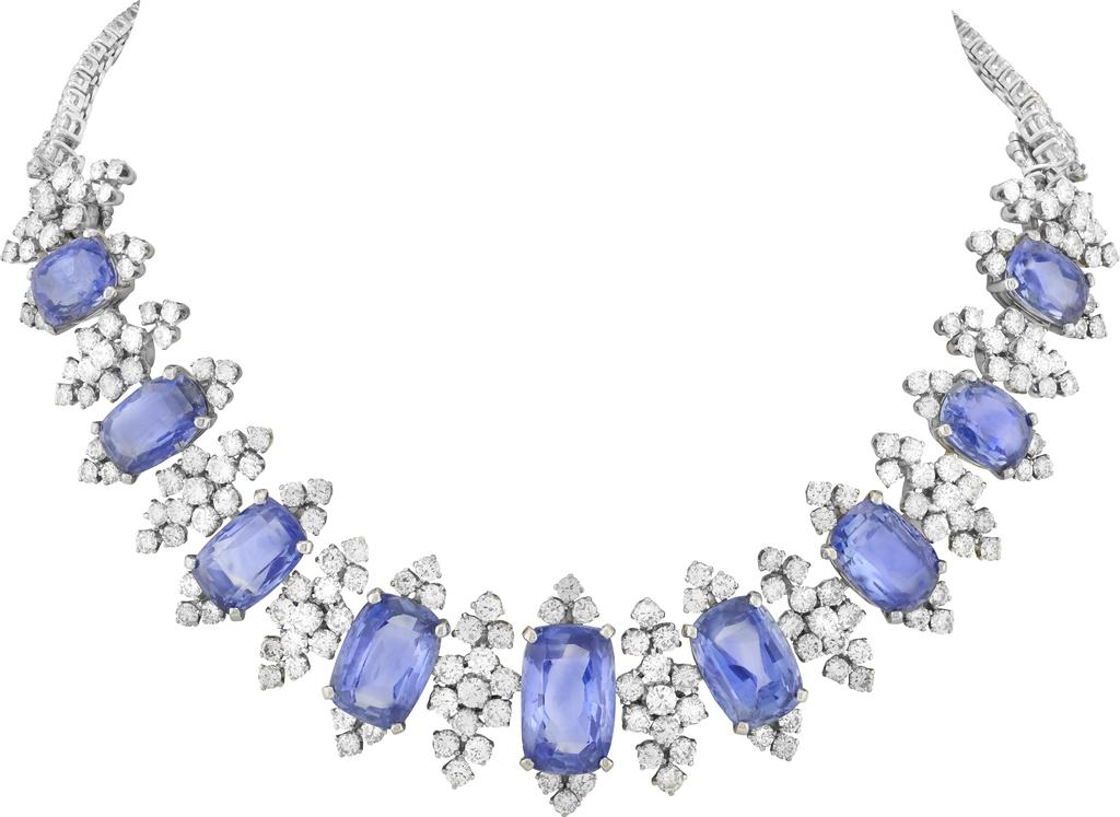 Transformable necklace, 1948. Platinum, white gold, 10 cushion-cut sapphires for 76.18 carats (Sri Lanka), diamonds. Heritage collection.
