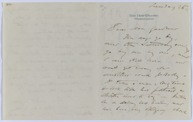 , 'Letter to Isabella Stewart Gardner from The New Willard, Washington DC,' October 28-1917, Isabella Stewart Gardner Museum