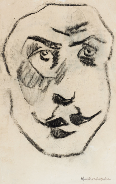 Henri Gaudier-Brzeska, 'Sculptural Head of Brodzky', ca. 1913, Drawing, Collage or other Work on Paper, Black chalk on paper, Ben Uri Gallery and Museum