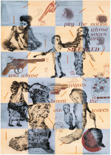 Nalini Malani, 'Pity the nation whose sages are silenced', 2019, Galerie Lelong & Co.