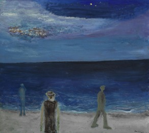 Wanderers at the beach, starry night, The North Sea
