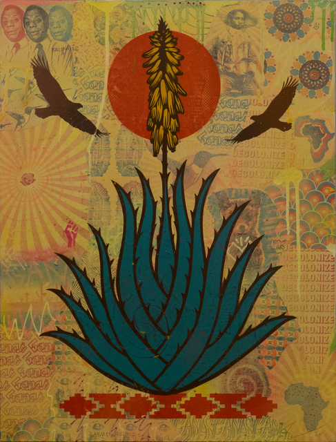 Ernesto Yerena, 'Spiritual Memory', 2020, Mixed Media, Spray Paint Stencil on Collaged Wood Panel, Subliminal Projects