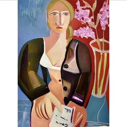 Woman with Letter & Lilacs