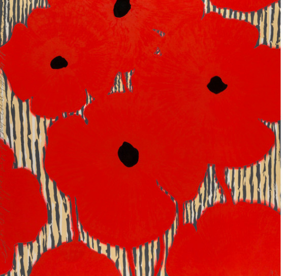 Donald Sultan, 'Red flowers with Striped Background', 2002, Concierge Fine Art