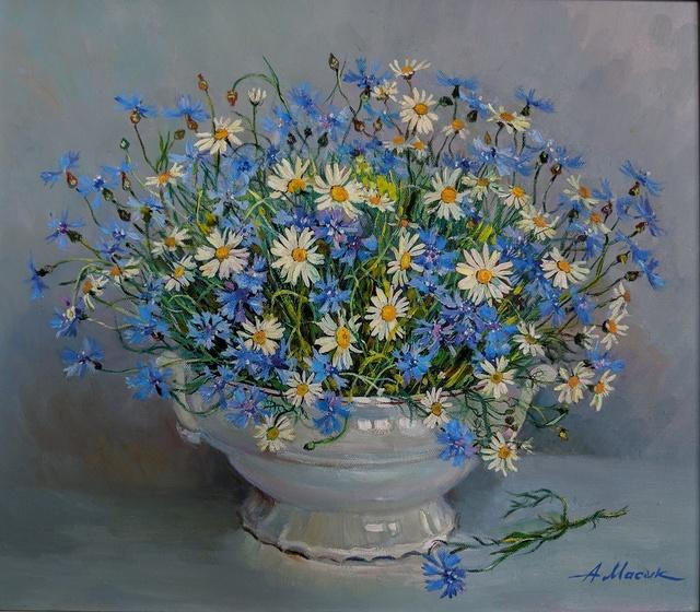"Alexander Masyk, '""Сhamomile and Сornflowers""', 2019, The Galleries at Salmagundi"