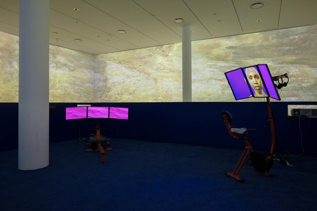 "Installation view: ""Sondra Perry: Typhoon coming on"" at Institute of Contemporary Art, Miami. July 13 –Nov 4, 2018. Photo: Fredrik Nilsen Studio."