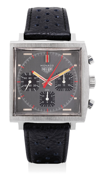 Heuer, 'An exceptionally well preserved stainless steel chronograph wristwatch grey dial and black registers', Circa 1972, Phillips