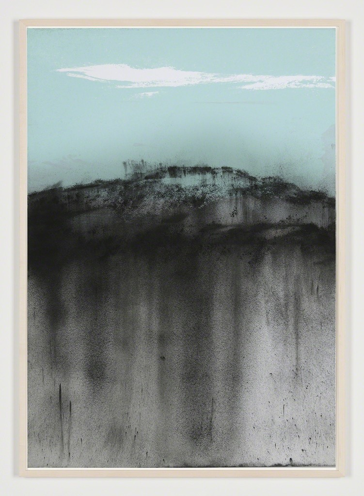 """Carla Chan, """"Clouded White - X沌 白"""" (2018), carbon powder, nature color pigment glued and printed on paper, wooden framed with museum glass, 100 × 70 cm"""