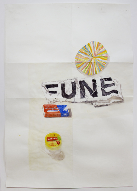 , 'Carmex, Swingline, FUNE, and paper,' 2015, Pierogi
