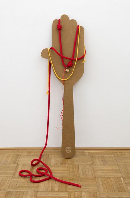 Miao Ying, 'Love´s little Spank – Nelli & Alex', 2019, Sculpture, Wood, rope, love lock stolen from Paris, Galerie nächst St. Stephan Rosemarie Schwarzwälder