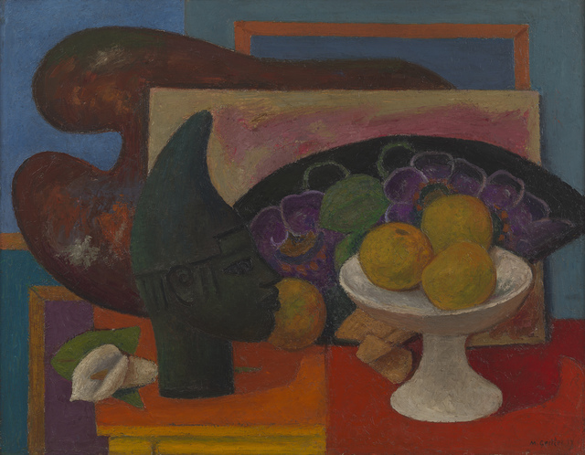 , 'Still Life with Fan and Benin Head,' 1937, Osborne Samuel