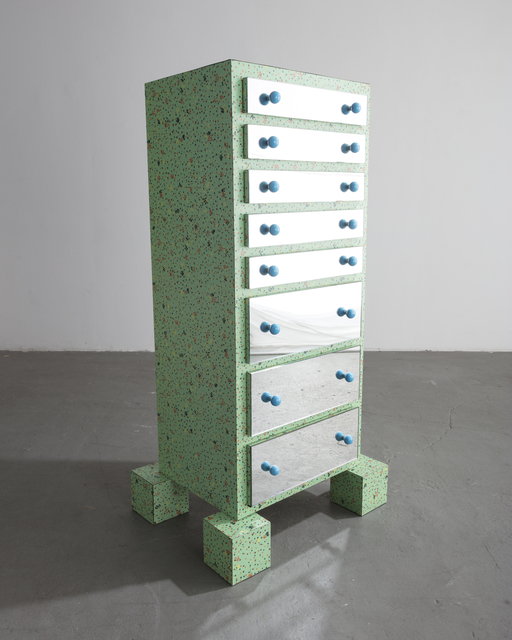", '""Gadames"" dresser in chipboard, green plastic laminate, plate glass, and blue plastic. ,' 1980, R & Company"