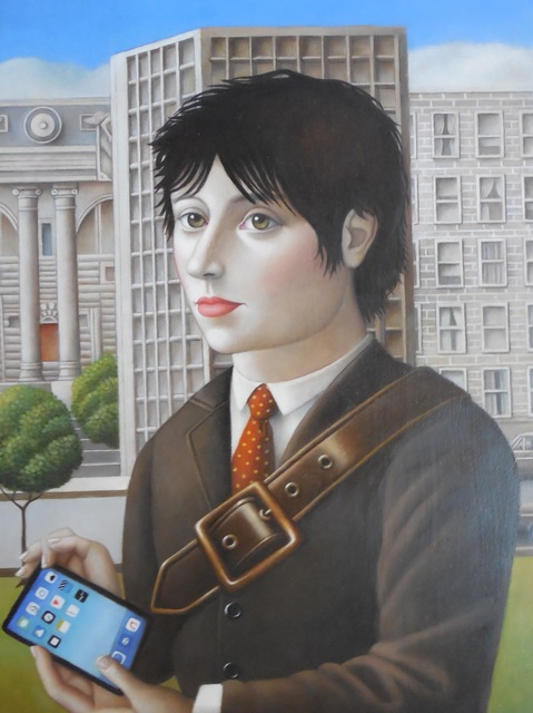 , 'Young Man with Tablet,' 2017, Lois Lambert Gallery