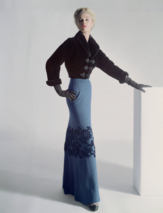 Horst P. Horst, 'Model Jean Patchett in a sealskin Mainbocher Jacket and floor-length skirt with velvet flowers at the knee, Vogue', 1951, Bernheimer Fine Art