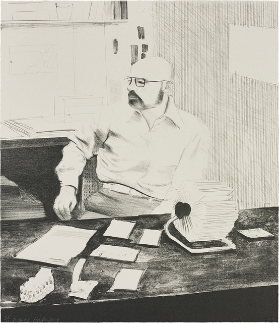 David Hockney, 'Sidney in his Office, from Friends', 1976, Phillips