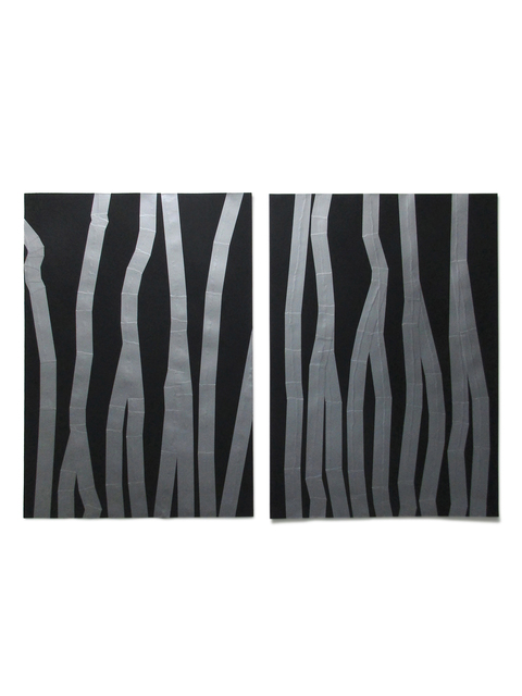 Carlo Colli, 'Recompose Black 3M42S+4M37S', 2017, Drawing, Collage or other Work on Paper, Torn black paint on paper and tape American gray - diptych, Die Mauer