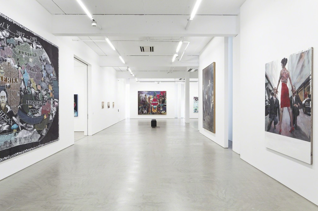 installation view G2 Kunsthalle, Hildebrand Collection, with art works by (from left to right) Paule Hammer, Matthias Weischer (3x), Neo Rauch, David Schnell, Axel Geis and Jochen Plogsties, photo: Dotgain © the artists & G2 Kunsthalle, Leipzig.