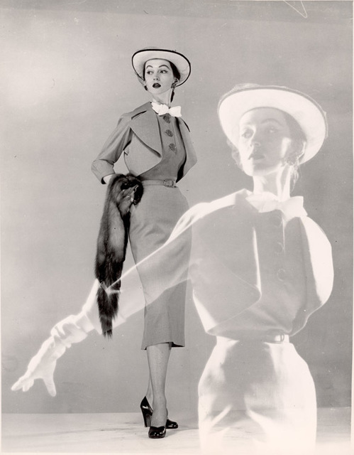 Gjon Mili, 'Double Exposure, Model Spring Dress, Hat with Veil, Carrying Fur Scarf', 1946, Contessa Gallery
