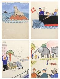 "22 original illustrations to the children's book ""Søløven Marius"" (The Sea Lion Marius) by Harald H. Lund"