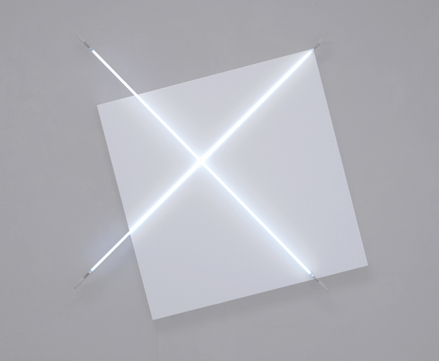 François Morellet, ' Diagonales hors cadre n° 1', 2011, Painting, Acrylic on canvas and white neon, A arte Invernizzi