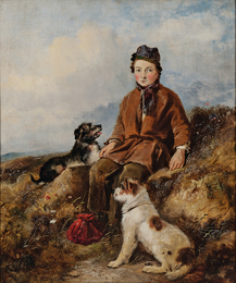 A Rest on the Way/Boy with Two Dogs