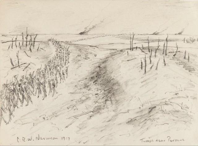 Christopher Richard Wynne Nevinson, 'Troops Near Peronne', 1917, Osborne Samuel