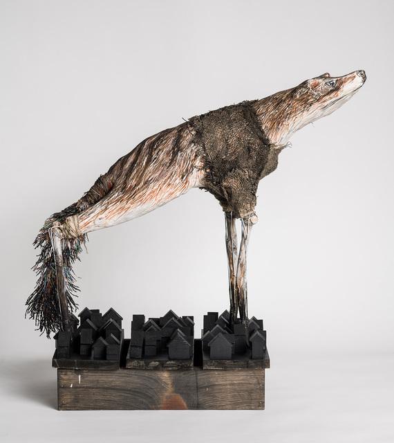 Elizabeth Jordan, ' Large Sculpture of Extinct Carnivorous Marsupial: 'Thylacine Moon'', 2021, Sculpture, Wood, chicken wire, wire mesh, wire, plaster wrap, Paperclay, twine, burlap, wire hangers, gouache, chalkboard paint, Ivy Brown Gallery