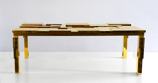 , 'Rectangular Cuspide Low Table with Facets in 24k Gold,' 2017, Garrido Gallery