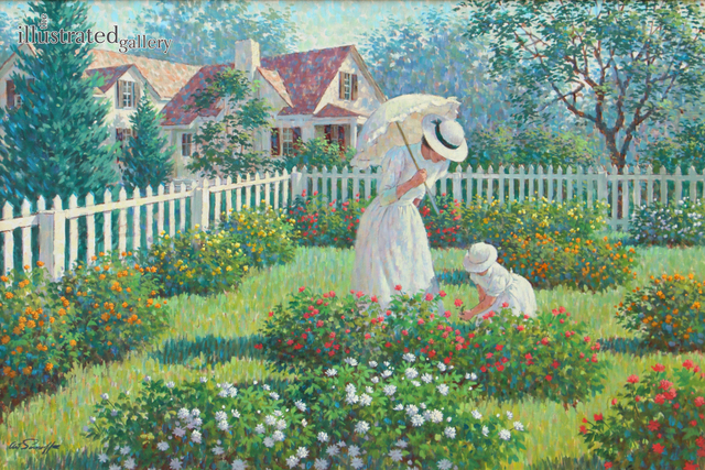 Arthur Sarnoff, 'Mother and Daughter in Garden', 1960, Painting, Oil on Canvas, The Illustrated Gallery