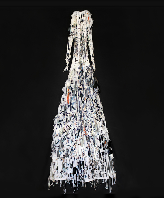 Lesley Dill, 'White Dress', 2008, Sculpture, Acrylic paint, oil stick and thread on fabric, Nohra Haime Gallery