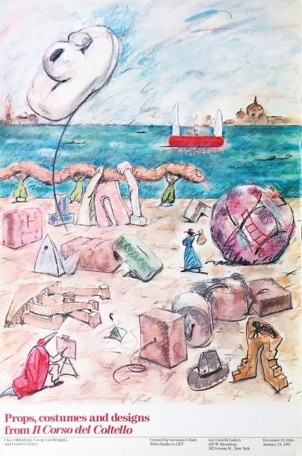 Claes Oldenburg, 'Props, Costumes and Designs from Il Corso del Coltello Exhibition Poster (Leo Castelli Gallery)', 1986, Alpha 137 Gallery