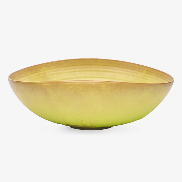 Gertrud Natzler, 'Large folded bowl, chartreuse glaze, Los Angeles, CA', Rago/Wright