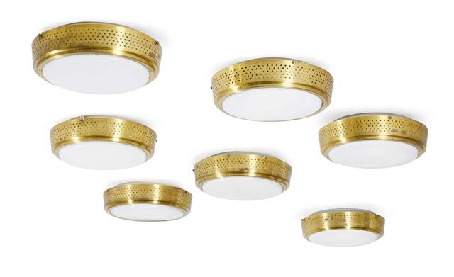 'Set of 7 ceiling lights', Circa 1955, Design/Decorative Art, Brass, glass, Aguttes
