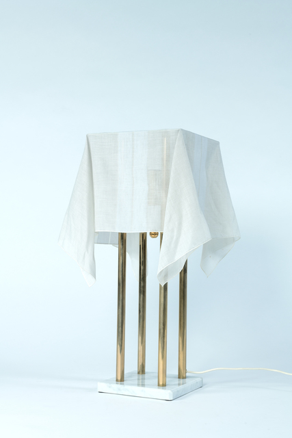 """Kazuhide Takahama, '""""Nefer"""" table lamp in marble, golden metal and fabric', vers 1980, Leclere"""
