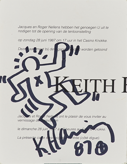 Keith Haring, 'Marker on invitation card created the evening opening of the Keith Haring permanent mural at Casino Knokke, Belgium, Sunday, June 28, 1987', 1987, Rago