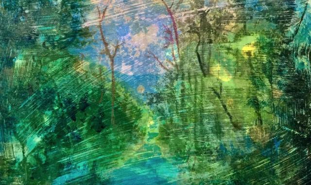 Lucinda Luvaas, 'Magical Landscape', 2018, Mixed Media, Mixed Media on Duralar, Walter Wickiser Gallery