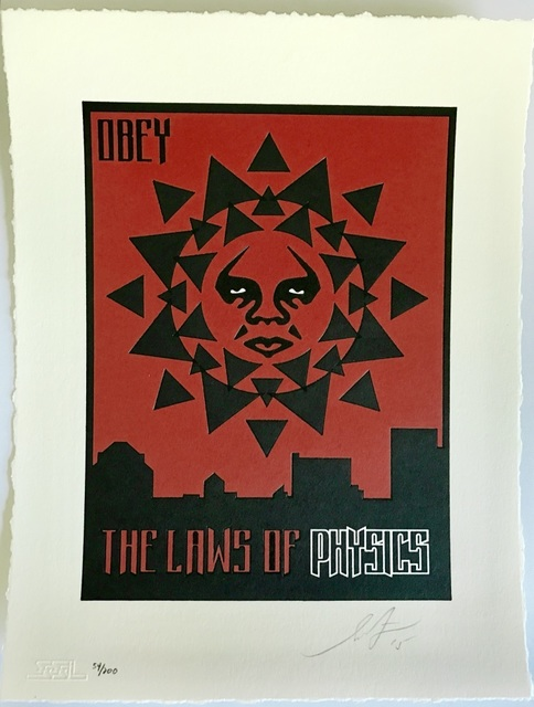 Shepard Fairey, 'Laws of Physics - Letterpress', 2015, Print, Letterpress print on 100% cotton paper, Blackline Gallery