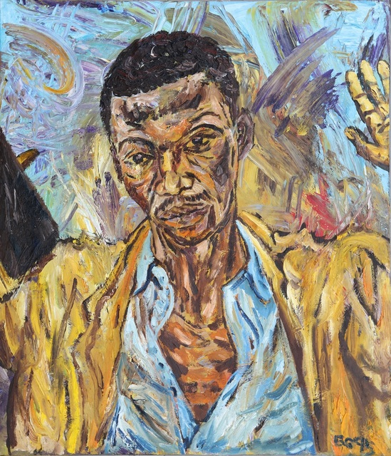 , 'First portrait in oil for 'The Preacher',' 1995, Charles Nodrum Gallery