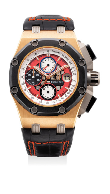Audemars Piguet, 'An attractive pink gold and ceramic chronograph wristwatch with date, presentation box and certificate', Circa 2009, Phillips