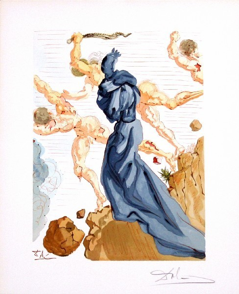 Salvador Dalí, 'Inferno Canto 15: The Hard Margins from The Divine Comedy', 1960, Print, Woodblock on paper, New River Fine Art