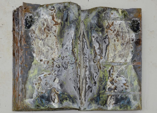 Anselm Kiefer, 'Under der Linden', 2013, Mixed Media, Electrolysed lead on bound 80x116x8 cm (open) - 80x58x8 cm (closed), 32 pages (15 double-page spreads + front cover &back cover), Lia Rumma