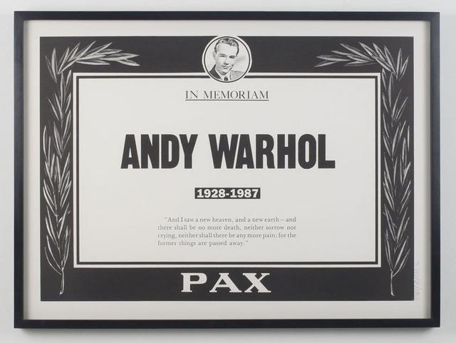 Andy Warhol, 'Andy Warhol Memorial Poster', 1987, Gallery 52