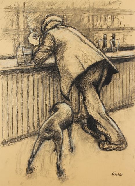 , 'Smoking man at bar with dog (double sided),' ca. 1965, Castlegate House Gallery