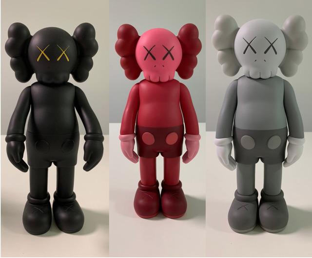 KAWS, 'Set of 3 Companion (Black, Grey & Blush)', 2016, Sculpture, Set of 3 painted cast vinyl figures, artrepublic