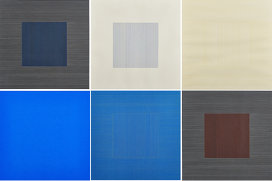Six works from Lines in Two Directions & In Five Colors on Five Colors with All Their Combinations