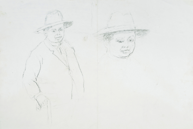 Marie Vorobieff Marevna, 'Portrait of Diego Rivera standing with walking stick, and detail of head', Roseberys