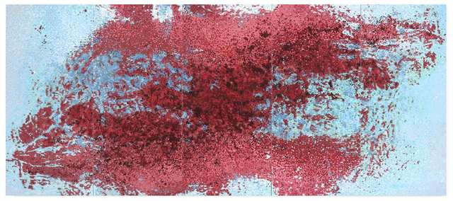 Yasmina Alaoui, 'Red and blue 5 panel 1', 2017, Painting, Acrylic paint, pigement, salt and gravel on wood, Opera Gallery