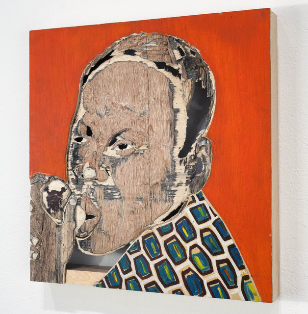 Aimé Mpane, 'Kinoct #36', 2012, Painting, Acrylic and mixed media on wood panel, Haines Gallery