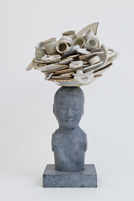 , 'Bronze bust with white delft plates and ointments pots,' 2018, Galerie Ron Mandos