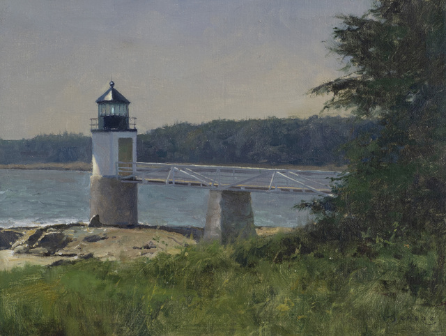 Donald W. Demers, 'Standing Alone, Marshall Point Light, Port Clyde, Maine', 21st Century, Painting, Oil on mounted linen, Vose Galleries